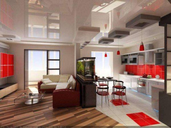 в интерьере кухни-гостиной 20 кв.м. зонирование с помощью перегородки с аквариумом