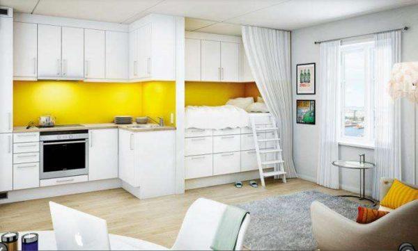зонирование мебелью в интерьере кухни гостиной 20 кв. метров со спальным местом