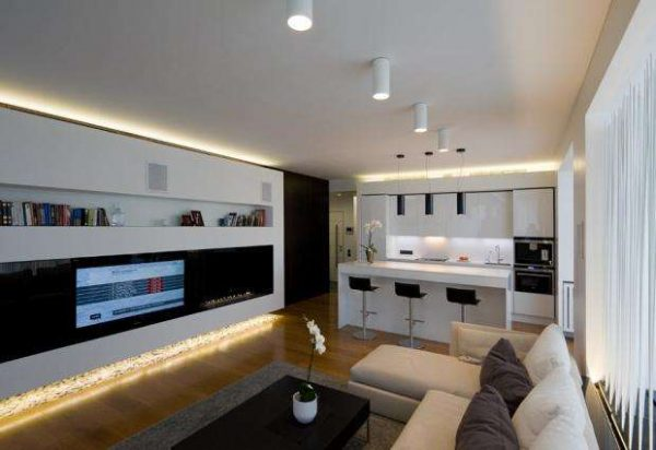 зонирование с помощью барной стойки в совмещённой кухне гостиной 20 кв. метров
