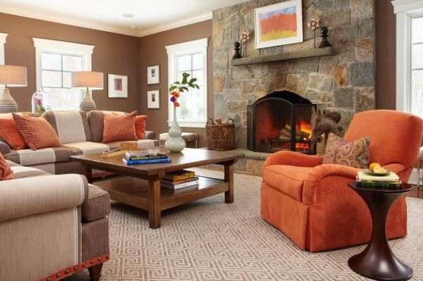 шоколадный цвет в сочетании с красной мебелью смотрится роскошно