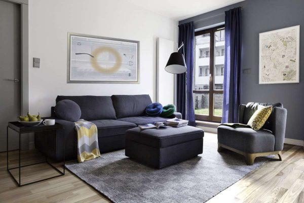серый и белый цвет стен в интерьере гостиной