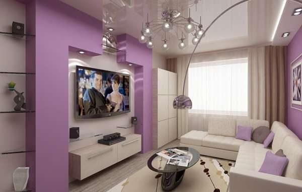 фиолетовый цвет стен в интерьере гостиной