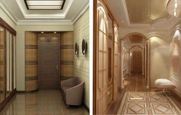 гипсокартонный потолок и натяжной потолок в прихожей