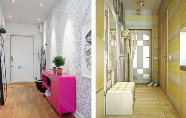 Дизайн маленькой прихожей в квартире с обоями на стенах