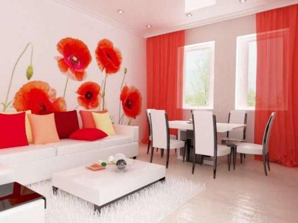 фотообои с красными маками в интерьре гостиной