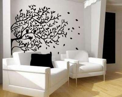 фотообои с изображением дерева в интерьре гостиной