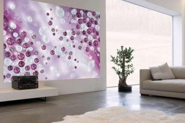фиолетовые фотообои в интерьере гостиной