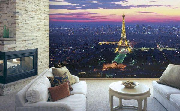 фотообои с ночным городом в интерьере гостиной