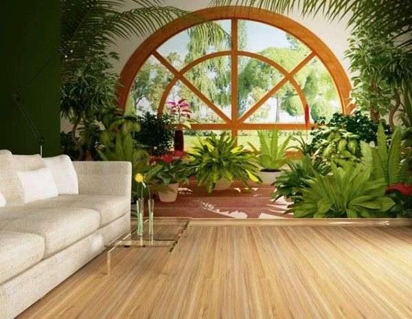 фотообои с природой в интерьере гостиной