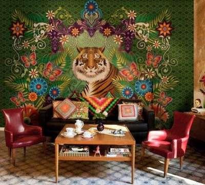фотообои с тигром в интерьере гостиной