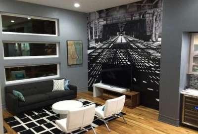 фотообои с уходящим интерьером в интерьере гостиной