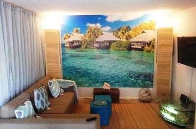 фотообои с морским пейзажем в интерьере гостиной