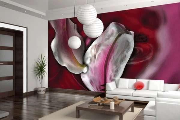 футуристические фотообои в интерьере гостиной