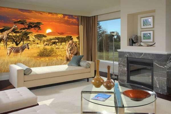фотообои с африканской саваной в интерьере гостиной