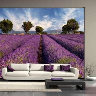 фотообои с лавандовыми полями в интерьере гостиной