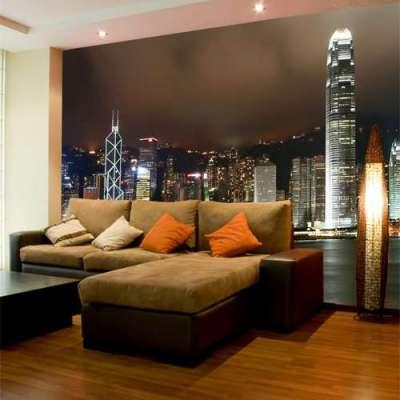 фотообои с изображением ночного города в гостиной