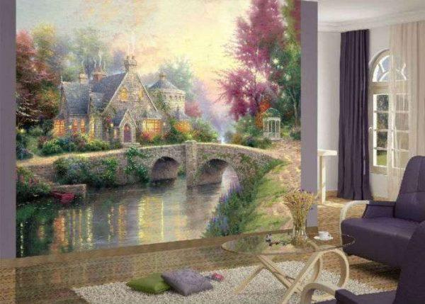 фотообои с мостом и домиками в интерьере гостиной