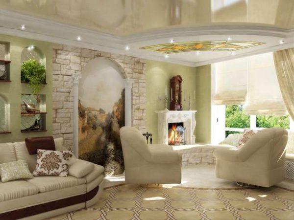 фотообои в интерьере гостиной с камином