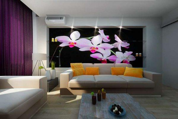 фотообои с орхидеями в интерьере гостиной