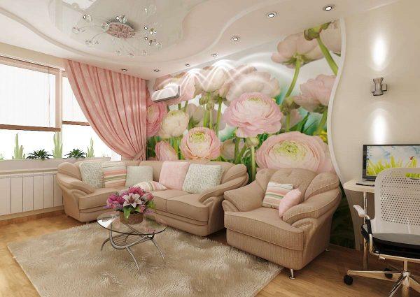 фотообои с розами в интерьере гостиной