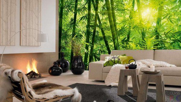 фотообои с изображением бамбука в интерьере гостиной