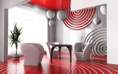 фотообои 3Д в интерьре гостиной