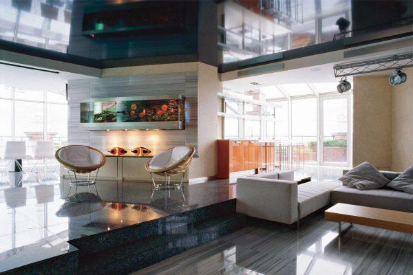 аквариум в гостиной хай тек