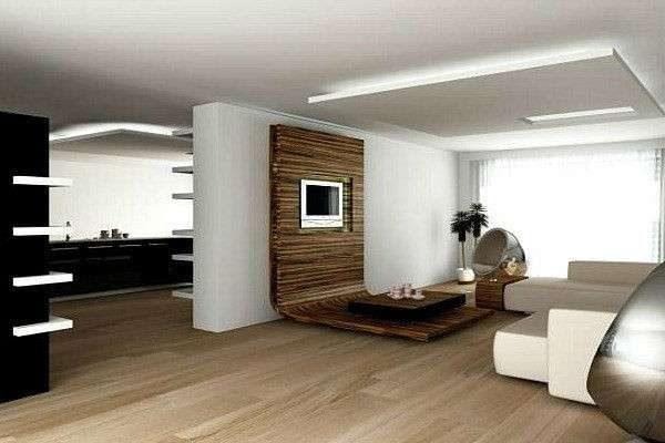 деревянная панель под телевизор в интерьере в стиле хай тек