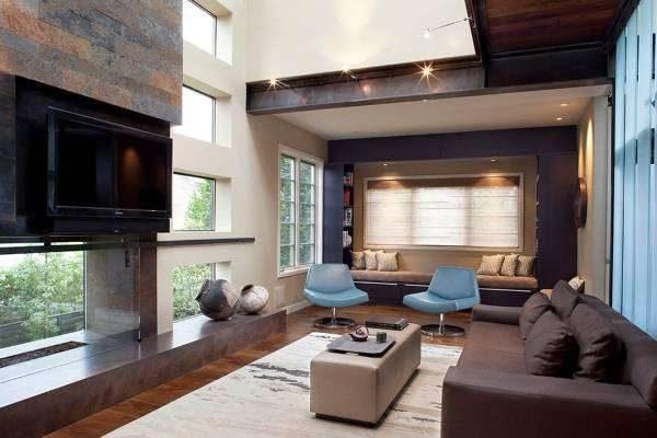 натуральные материалы в интерьере гостиной в стиле хай тек