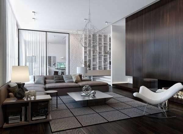 угловой диван в интерьере гостиной в стиле хай тек