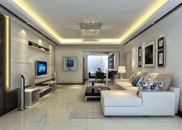 подсветка потолочная в интерьере гостиной в стиле хай тек
