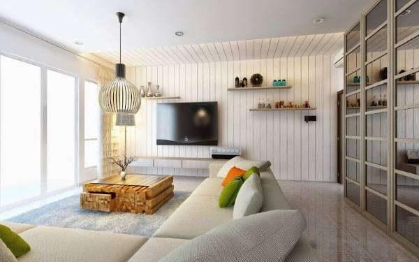 белый диван в интерьере гостиной в стиле хай тек