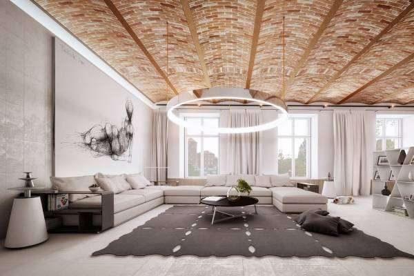 кирпичная кладка на потолке в интерьере гостиной в стиле хай тек