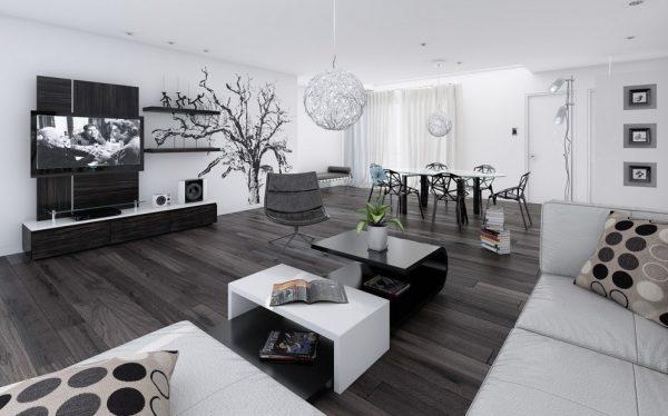 настенный декор в интерьере гостиной в стиле хай тек