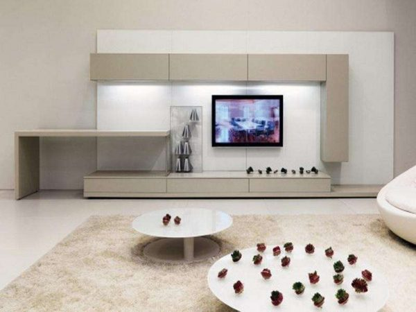 бежевая модульная стенка в интерьере гостиной в стиле хай тек