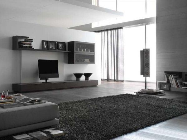 серый цвет в интерьере гостиной в стиле хай тек