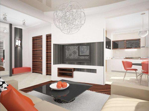красный в интерьере гостиной в стиле хай тек