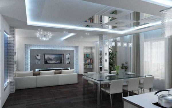 подсветка в гостиной хай тек