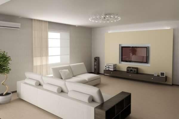 белый потолок в гостиной хай тек