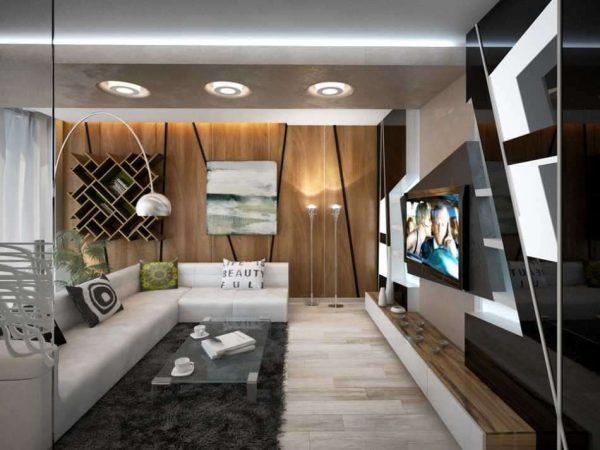 угловой белый диван в гостиной хай тек