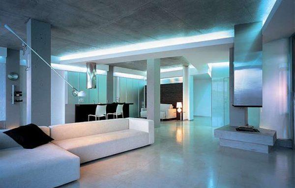 освещение в интерьере в стиле хай тек
