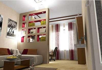 стационарная перегородка в спальне-гостиной