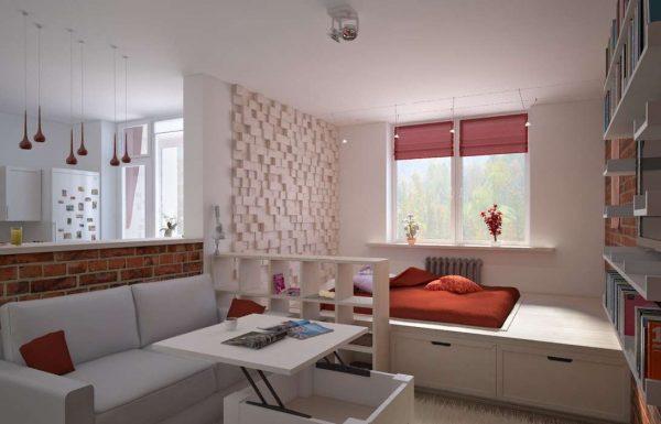 подиум для зонирования в спальне-гостиной