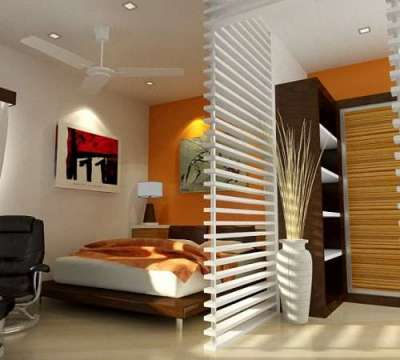 шкаф высокий с перегородкой в спальне-гостиной