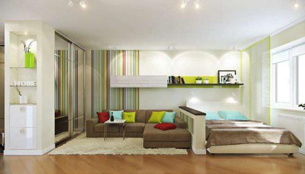 оформление спальни-гостиной