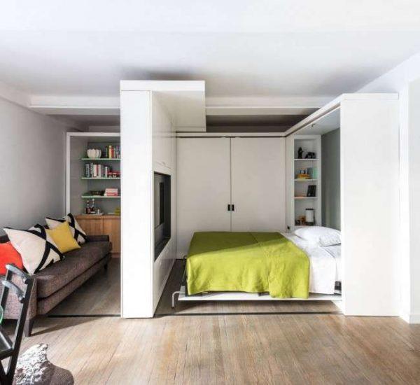 перегородка каркасная в спальне-гостиной