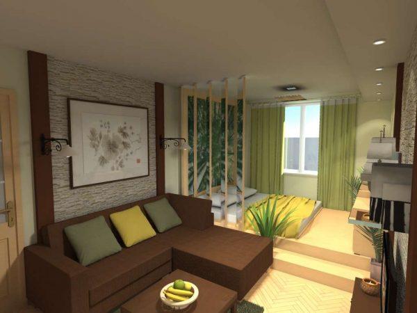 спальная зона у окна в спальне гостиной