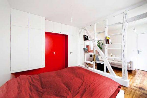 разделение комнаты на 2 зоны спальни и гостиной