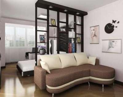 стеллажи для совмещённой гостиной-спальни