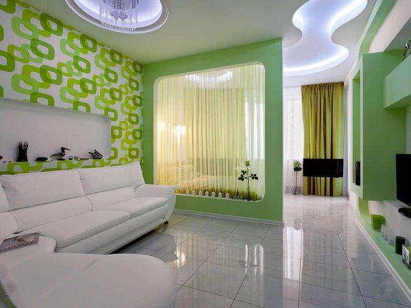 совмещённая спальня с гостиной с перегородкой